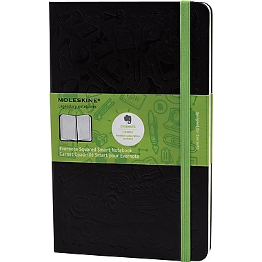 Moleskine Evernote Smart Notebook, Large, Squared, Hard Cover, 5in. x 8-1/4in.