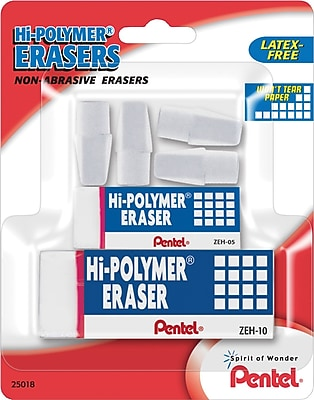 Pentel® Hi-Polymer® Eraser, White Erasers, Assorted Sizes, 6/Pack