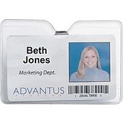"Advantus ID Badge Holder - Horizontal with Clip, 4"" x 3"" Insert Size, 50/Pk"