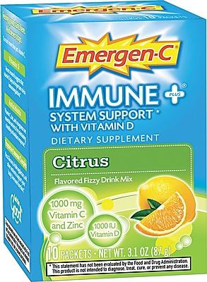 Emergen-C® Immune+ Formula, 0.3 oz, Citrus, 10/Pack