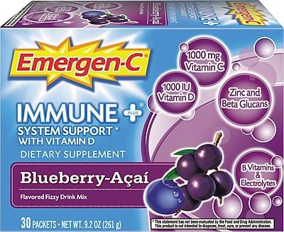 Emergen-C Immune+ Formula, 0.3 oz, Blueberry Acai, 30/Pack