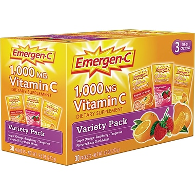 Emergen-C® Variety Pack w/ Orange, Tangerine, Raspberry, 0.3 oz Packets, 30/Pack