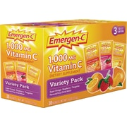Emergen-C® Variety Pack w/ Orange, Tangerine, Raspberry, 0.3 oz Packets, 30/Pack
