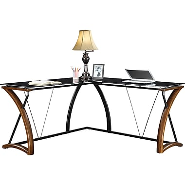 Whalen Newport Wood And Glass Desk Cherry