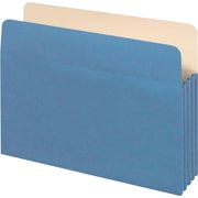 "Staples® Colored Top-Tab File Pockets, 5.25"" Expansion, Letter, Blue, 25/Bx (1534GBLUSB)"