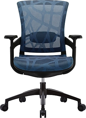 Raynor Skate Ergonomic Patterned Mesh Manager's Chair, Adjustable Arms, Blue