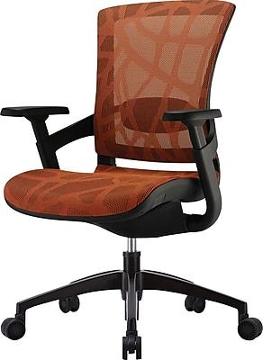 Raynor Skate Mid-Back Mesh Ergonomic Chair, Adjustable Arms, Burnt Orange