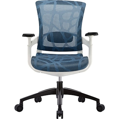 Raynor Skate Mesh Ergonomic Mid-Back Chair, Adjustable Arms, Blue