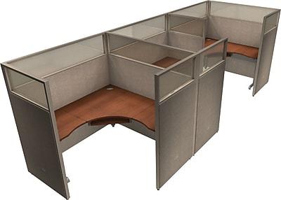 OFM® RiZe™ 63x60 Triple Workstation, Gray/Cherry