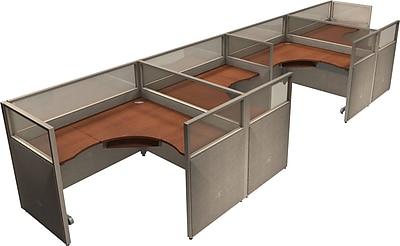 OFM® RiZe™ 47x60 Quad Workstation, Gray/Cherry