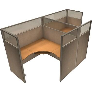 OFM® RiZe™ 63x60 Double Workstation, Beige/Maple