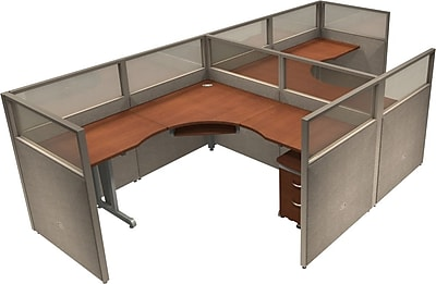 OFM® RiZe™ 47x72 Double Workstation, Gray/Cherry