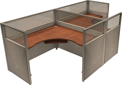 OFM® RiZe™ 47x60 Double Workstation, Gray/Cherry