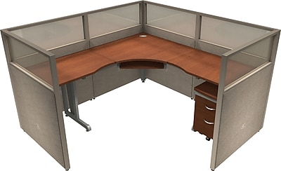 OFM® RiZe™ 47x72 Single Workstation, Gray/Cherry