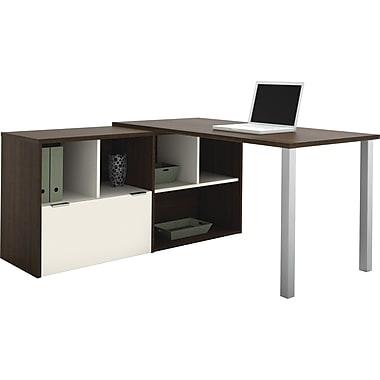 Bestar Contempo L-Shape Desk Common Configuration, Tuxedo & Sandstone