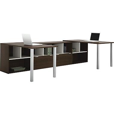 Bestar – 2 bureaux en L Contempo avec configuration partagée, gris Tuxedo