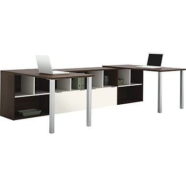 Bestar Contempo 2 L-Shape Desks Common Configuration, Tuxedo & Sandstone