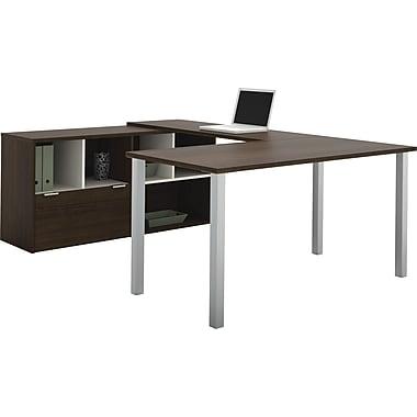 Bestar – Poste de travail en U Contempo avec configuration partagée, gris Tuxedo