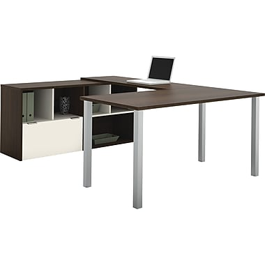 Bestar – Poste de travail en U Contempo avec configuration partagée, gris Tuxedo et sable