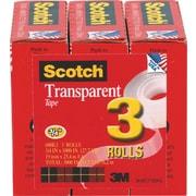 "Scotch® Transparent Tape 600, 3/4""x 27 yds, 1"" Core, 3/Pack"