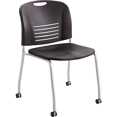 Safco® 4291 Vy Stacking Armless Chair With Caster, Black