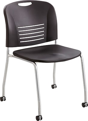 Safco® Vy Stacking Armless Chair with Caster, Plastic, Black, Seat: 18