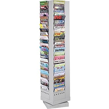 Safco 92-Pocket Rotary Steel Magazine Rack, Gray