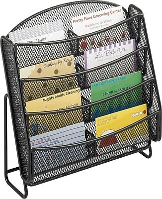 Safco 8-Pocket Steel Mesh Business Card Holder / Literature Rack, Black, 6/Pack