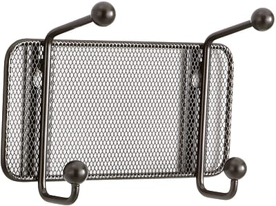 Safco Onyx Mesh Wall Rack, 2 Hook, Black (6401BL)