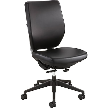 Safco Sol Faux Leather Computer and Desk Office Chair, Armless, Black (XX7065BV)