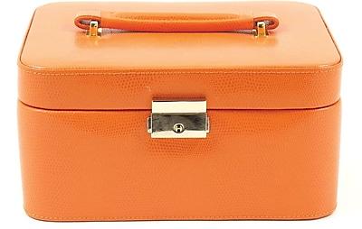 Bey-Berk Debossed Lizard Leather Jewelry Box, Orange