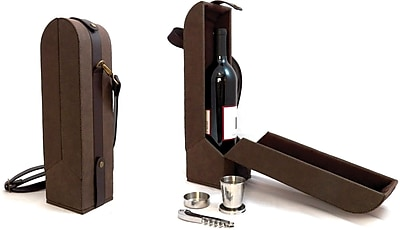 Bey-Berk Leather and Ultra Suede Wine Caddy With 2 Cups and Opener, Brown