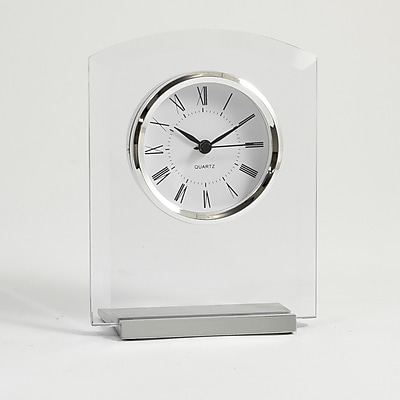 Bey-Berk Beveled Glass Quartz Clock, Novo