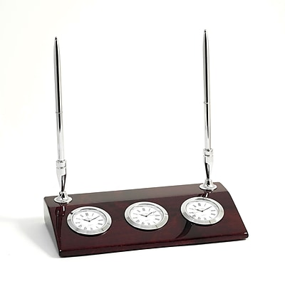 Bey-Berk Lacquered Rosewood 3 Time Zone Tokyo Desk Clock With 2 Pens, Tokyo