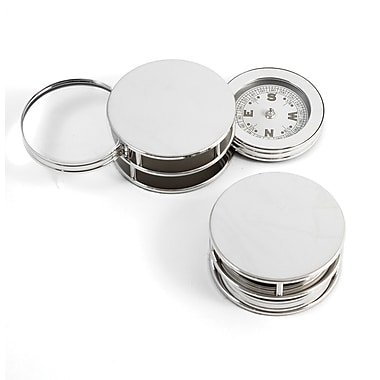 Bey-Berk Paperweight and Fold Out Magnifier With 3X Magnification and Compass, Chrome Plated