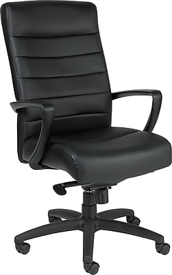 Eurotech Manchester Leather Executive Office Chair, Fixed Arms, Black (LE150-BLKL)