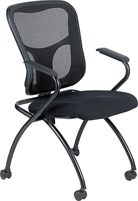 Raynor Eurotech Fabric Seat Flip Nesting Chair, with Arm, Black