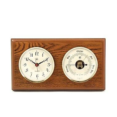 Bey-Berk Brass and Oak Quartz Clock/Barometer/Thermometer