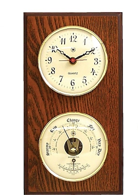 Bey-Berk WS113 Brass and Oak Quartz Clock/Barometer/Thermometer