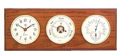 Bey-Berk Brass and Oak Quartz Clock/Barometer/Thermometer/Hygrometer