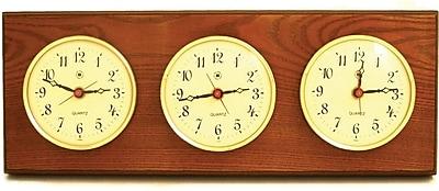 Bey-Berk Oak and Oak Multi-Zone Clock With 3 Brass Plates