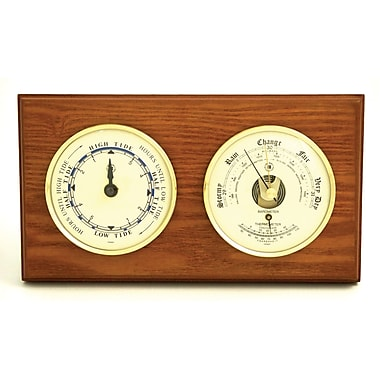 Bey-Berk Tide Clock, Barometer, and Thermometer, Brass/Oak (WS117)
