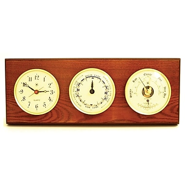 Bey-Berk Brass and Oak Time/Tide Clock/Barometer/Thermometer