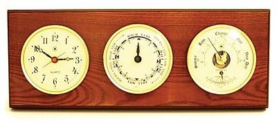 Bey-Berk Brass and Oak Time/Tide Clock/Barometer/Thermometer