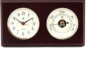 Bey-Berk Brass and Mahogany Wood Quartz Clock/Barometer