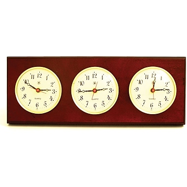 Bey-Berk Brass/Mahogany Multi Zone Clock With 3 Brass Plates