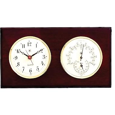 Bey-Berk Brass and Mahogany Wood Quartz Clock/Thermometer/Hygrometer