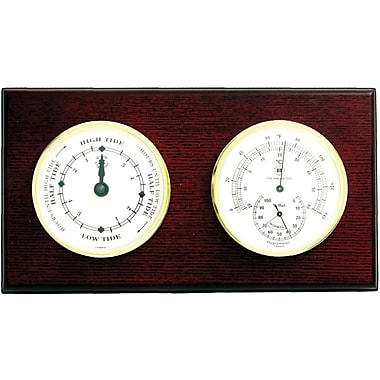Bey-Berk Brass and Mahogany Wood Tide Clock/Thermometer/Hygrometer