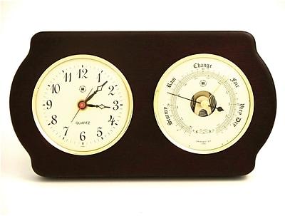 Bey-Berk Brass and Ash Wood Quartz Clock/Barometer