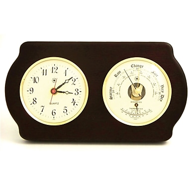 Bey-Berk Brass and Ash Wood Quartz Clock/Barometer/Thermometer